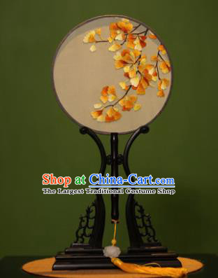 Handmade Chinese Traditional Double Side Silk Round Fan Classical Embroidered Ginkgo Leaf Palace Fans for Women
