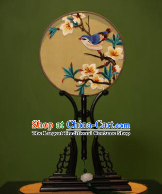 Handmade Chinese Traditional Double Side Silk Round Fan Classical Embroidered White Peach Blossom Palace Fans for Women