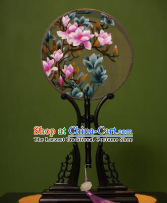 Handmade Chinese Traditional Double Side Silk Round Fan Classical Embroidered Magnolia Palace Fans for Women