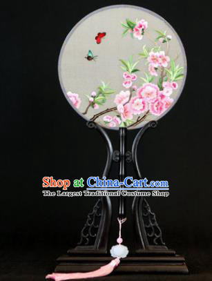 Handmade Chinese Double Side Silk Embroidered Peach Flowers Round Fan Traditional Classical Palace Fans for Women