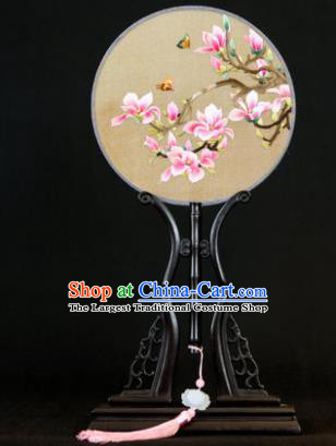 Handmade Chinese Double Side Silk Embroidered Pink Magnolia Round Fan Traditional Classical Palace Fans for Women