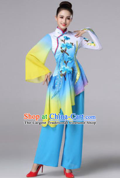 Chinese Traditional Umbrella Dance Costume Classical Dance Fan Dance Stage Performance Blue Dress for Women
