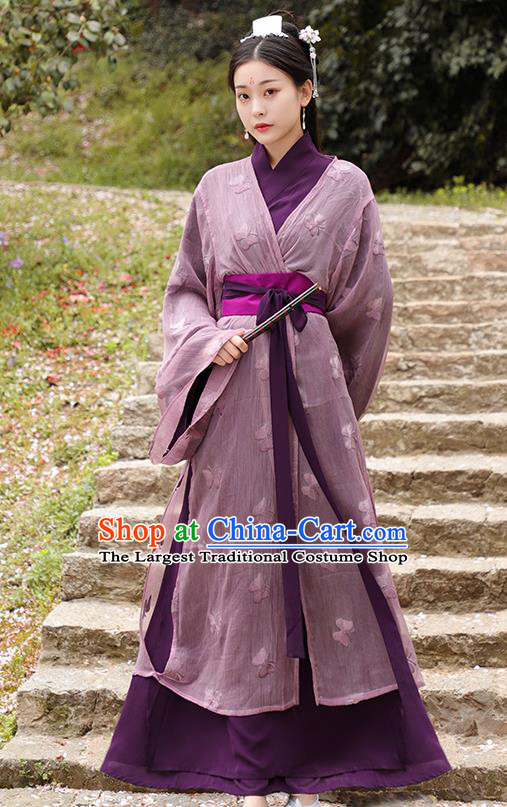 Chinese Ancient Swordswoman Purple Hanfu Dress Jin Dynasty Nobility Lady Princess Historical Costume for Women