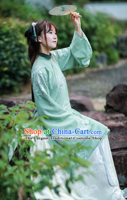 Chinese Ancient Ming Dynasty Nobility Lady Historical Costume Traditional Embroidered Hanfu Dress for Women