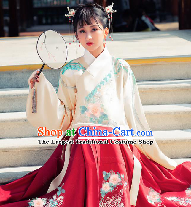 Ancient Chinese Ming Dynasty Princess Historical Costume Traditional Palace Embroidered Hanfu Dress for Women