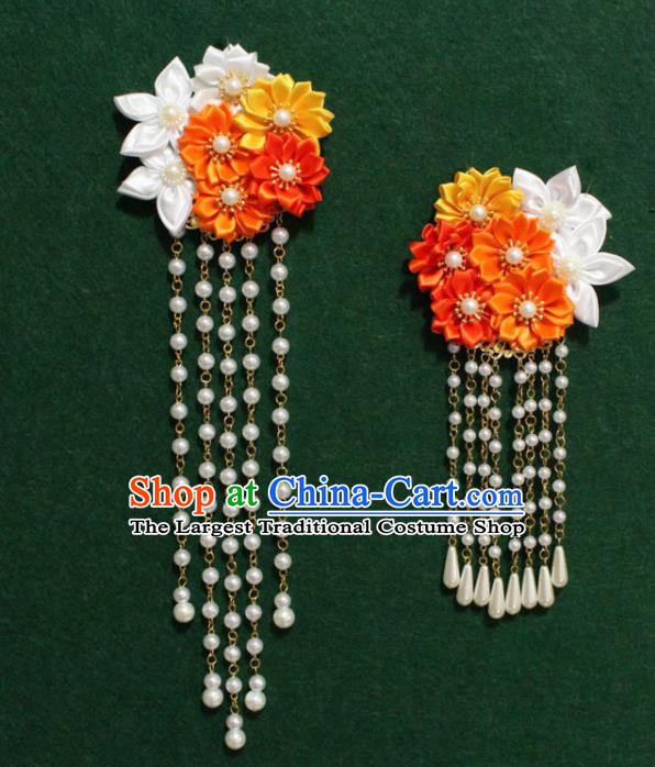 Traditional Chinese Ancient Tang Dynasty Palace Flowers Hair Claw Beads Tassel Hairpins Handmade Wedding Hair Accessories for Women