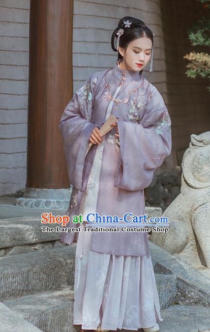 Chinese Ming Dynasty Nobility Dowager Historical Costume Traditional Ancient Purple Embroidered Hanfu Dress for Women