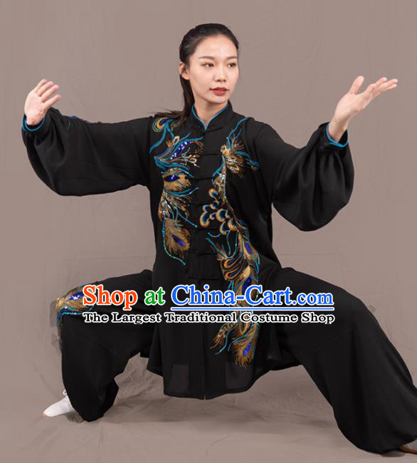 Traditional Chinese Martial Arts Embroidered Phoenix Black Costume Professional Tai Chi Competition Kung Fu Uniform for Women