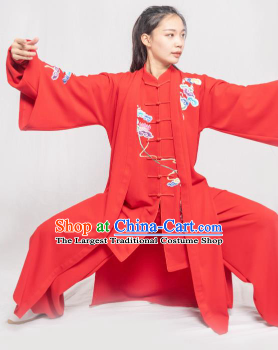 Traditional Chinese Martial Arts Embroidered Colorful Cloud Red Costume Professional Tai Chi Competition Kung Fu Uniform for Women
