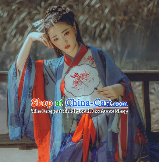 Chinese Traditional Jin Dynasty Palace Lady Historical Costume Ancient Princess Hanfu Dress for Women