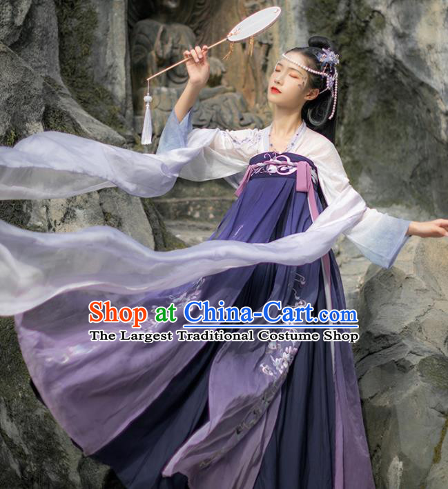 Chinese Traditional Embroidered Hanfu Dress Tang Dynasty Palace Princess Historical Costume for Women