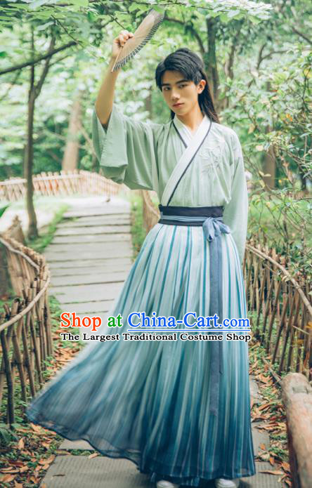 Chinese Ancient Nobility Childe Hanfu Clothing Traditional Han Dynasty Scholar Historical Costume for Men