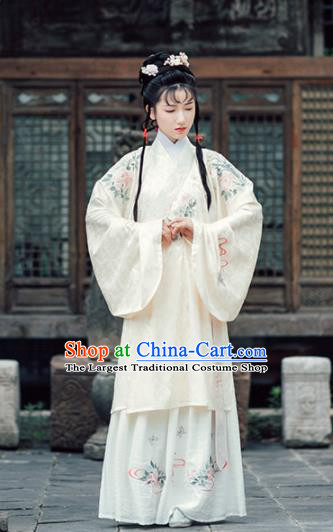 Asian Chinese Ancient Royal Princess Embroidered Hanfu Dress Traditional Ming Dynasty Palace Historical Costume for Women
