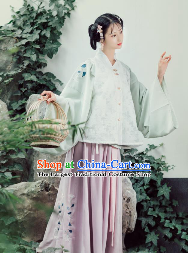 Asian Chinese Ancient Nobility Feminist Embroidered Hanfu Dress Traditional Ming Dynasty Young Lady Historical Costume for Women