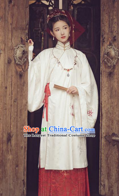 Ancient Chinese Ming Dynasty Court Lady Hanfu Dress Traditional Bride Embroidered Historical Costume for Women