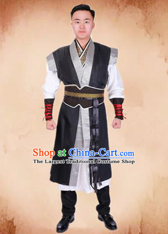 Chinese Traditional Ancient Swordsman Costume Han Dynasty General Clothing for Men