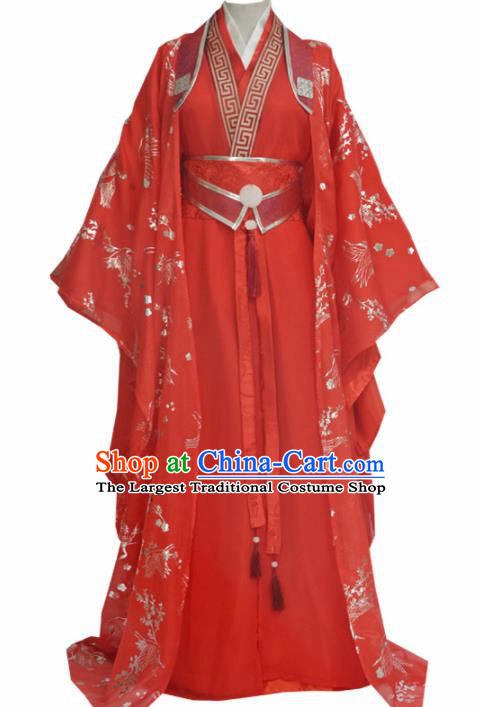 Traditional Chinese Tang Dynasty Swordsman Red Clothing Ancient Bridegroom Costume for Men