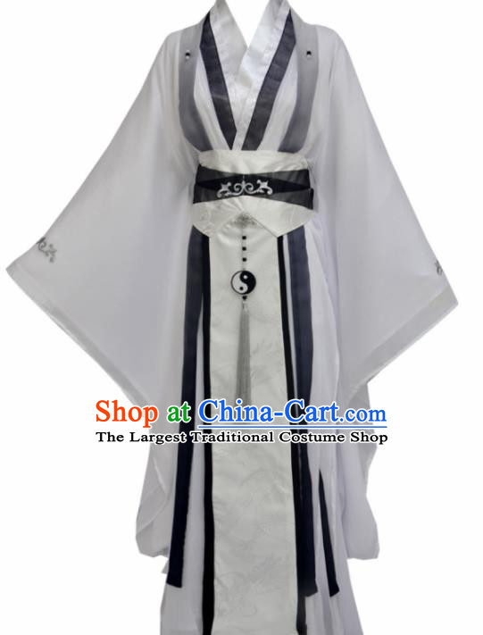 Traditional Chinese Tang Dynasty Swordsman White Clothing Ancient Taoist Priest Costume for Men