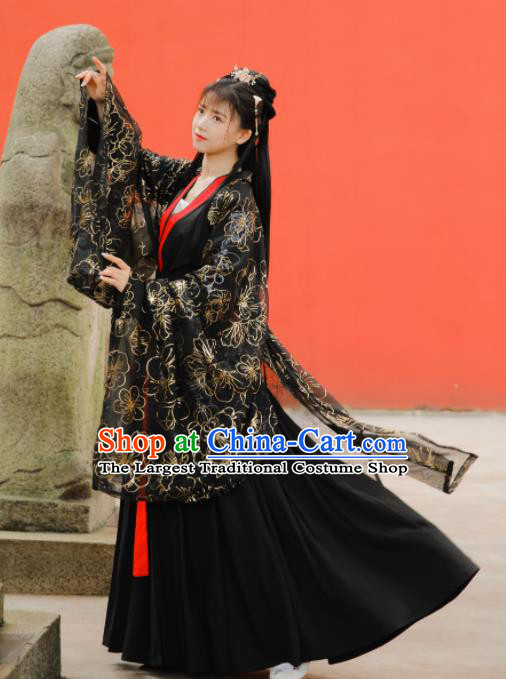 Ancient Chinese Ming Dynasty Palace Princess Historical Costume Traditional Court Black Hanfu Dress for Women