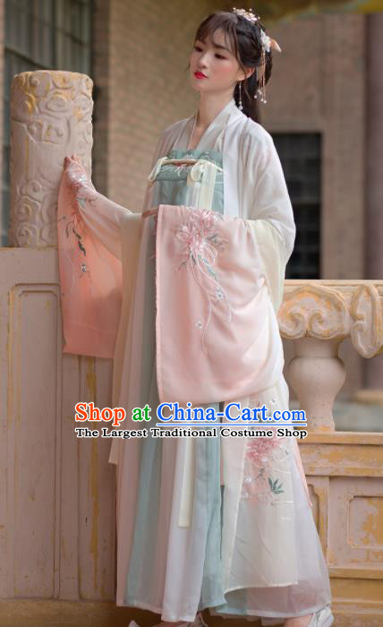 Traditional Chinese Tang Dynasty Palace Princess Hanfu Dress Ancient Court Embroidered Historical Costume for Women