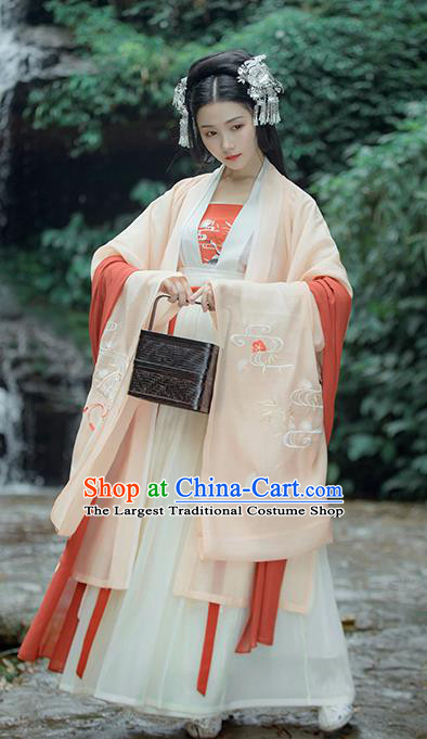 Traditional Chinese Ancient Embroidered Historical Costume Complete Set Tang Dynasty Court Princess Hanfu Dress for Women