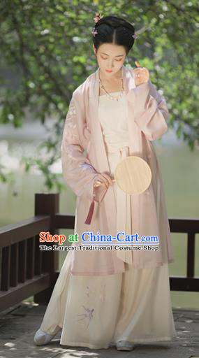 Asian Chinese Ancient Nobility Lady Embroidered Hanfu Dress Traditional Song Dynasty Historical Costume for Women