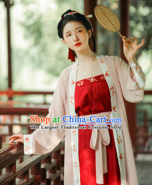 Asian Chinese Ancient Young Lady Embroidered Hanfu Dress Traditional Song Dynasty Historical Costume for Women