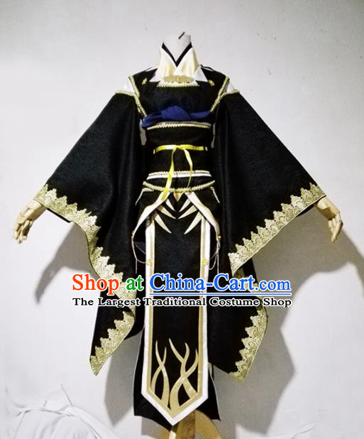 Chinese Traditional Cosplay Costume Ancient Female Swordsman Black Hanfu Dress for Women
