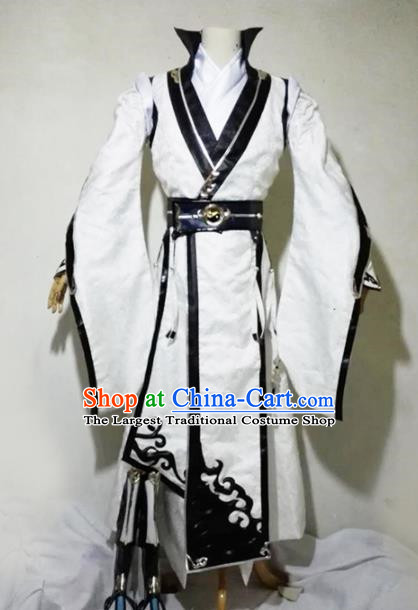 Chinese Traditional Cosplay Taoist Priest Royal Highness White Costume Ancient Swordsman Hanfu Clothing for Men