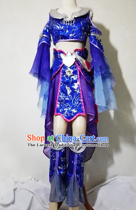 Chinese Traditional Cosplay Female Knight Costume Ancient Swordsman Taoist Nun Blue Dress for Women