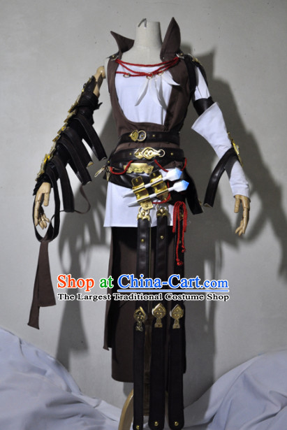 Chinese Traditional Cosplay Knight Brown Costume Ancient Swordsman Hanfu Clothing for Men