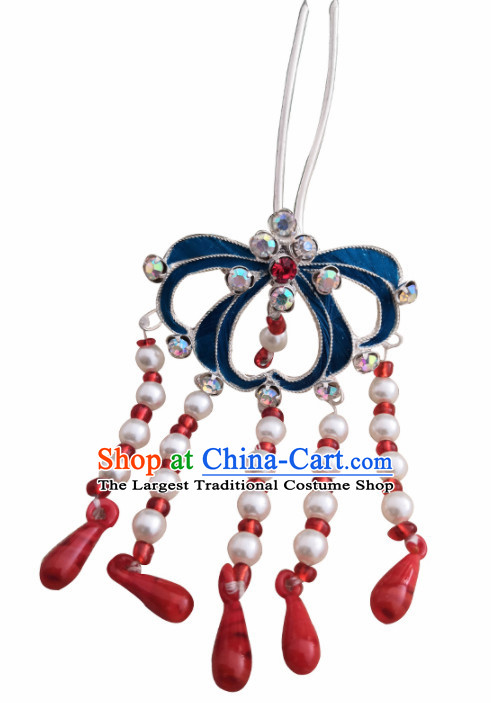 Chinese Ancient Queen Pearls Tassel Hairpins Traditional Beijing Opera Diva Hair Accessories for Adults