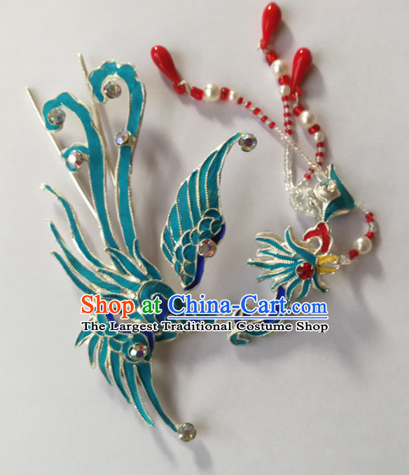 Chinese Ancient Queen Tassel Phoenix Hairpins Traditional Beijing Opera Diva Hair Accessories for Adults