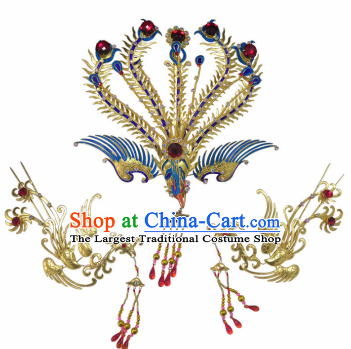 Chinese Traditional Beijing Opera Diva Hair Accessories Ancient Queen Phoenix Coronet Hairpins for Women