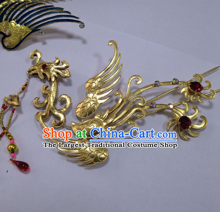 Chinese Traditional Beijing Opera Diva Hair Accessories Ancient Queen Golden Phoenix Hairpins for Women