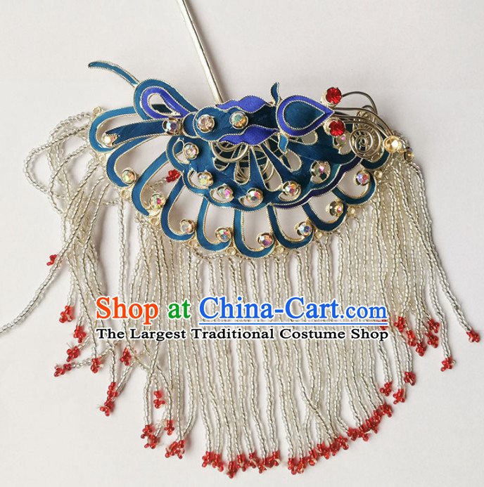 Chinese Ancient Queen Tassel Blueing Hairpins Traditional Beijing Opera Diva Hair Accessories for Adults