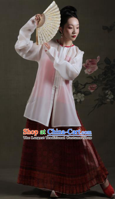 Chinese Ancient Ming Dynasty Dowager Hanfu Dress Traditional Rich Young Mistress Replica Costume for Women