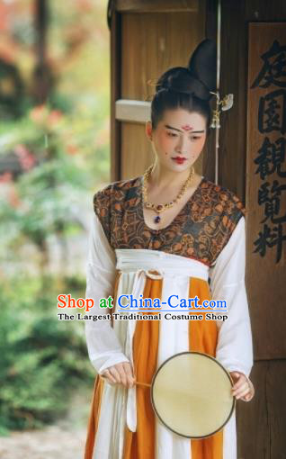 Chinese Ancient Early Tang Dynasty Court Replica Costume Traditional Imperial Consort Hanfu Dress for Women