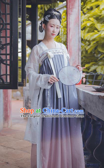 Asian Chinese Tang Dynasty Court Maid Replica Costume Traditional Ancient Princess Dance Hanfu Dress for Women