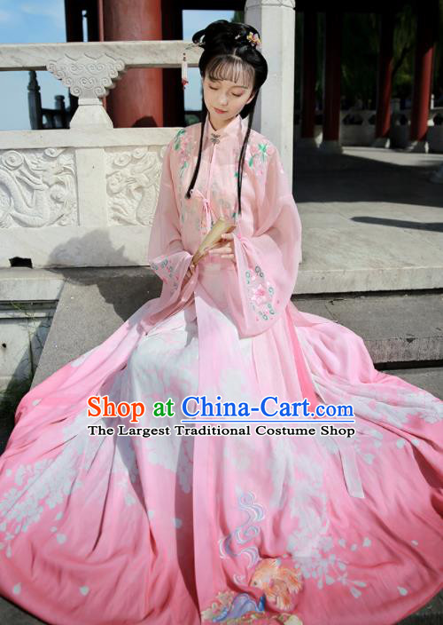 Ancient Chinese Nobility Lady Pink Hanfu Dress Traditional Ming Dynasty Embroidered Replica Costume for Women