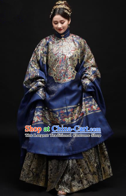 Chinese Ancient Ming Dynasty Dowager Hanfu Dress Traditional Court Infanta Embroidered Replica Costume for Women