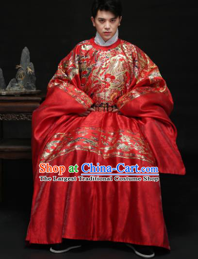 Chinese Ancient Ming Dynasty Bridegroom Hanfu Red Robe Traditional Wedding Embroidered Replica Costume for Men