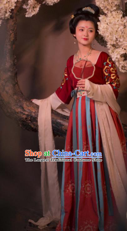 Chinese Traditional Tang Dynasty Court Concubine Hanfu Dress Ancient Imperial Consort Replica Costumes for Women