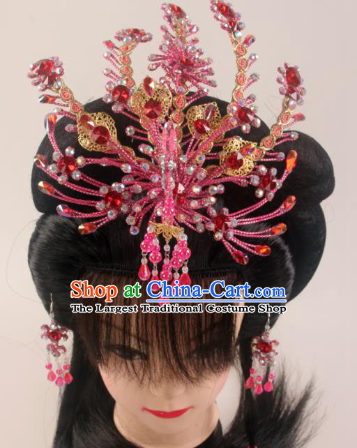Traditional Chinese Beijing Opera Diva Rosy Phoenix Hairpins Hair Accessories Ancient Court Princess Headwear for Women
