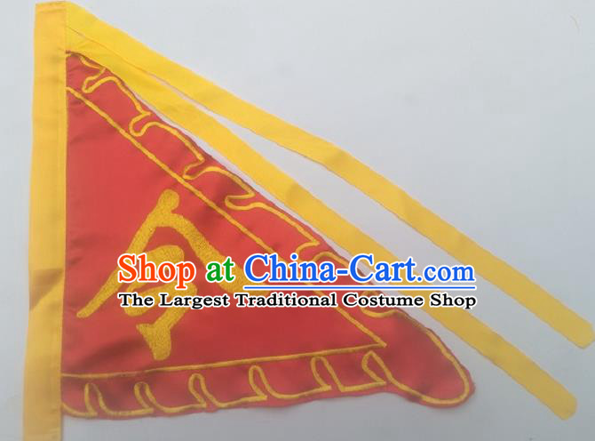 Chinese Traditional Red Triangular Flag Dragon Boat Competition Embroidered Flag