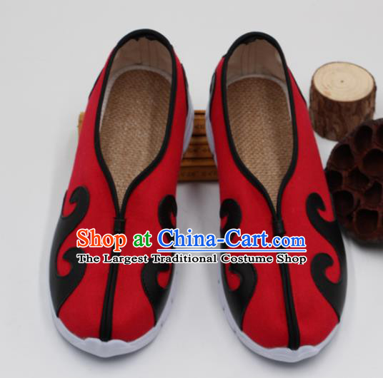 Chinese Traditional Martial Arts Kung Fu Red Shoes Tai Chi Taoist Priest Shoes for Men