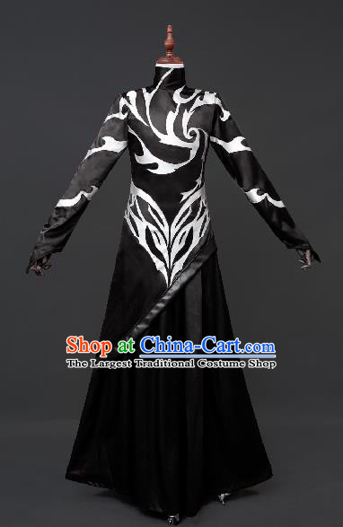 Chinese Ancient Drama Cosplay Taoist Priest Shen Gongbao Black Clothing Traditional Hanfu Swordsman Costume for Men