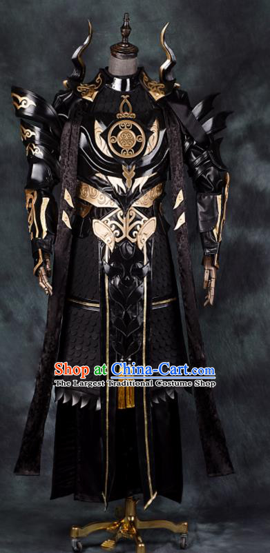 Chinese Ancient Drama Cosplay General Armor Taoist Priest Black Clothing Traditional Hanfu Swordsman Costume for Men
