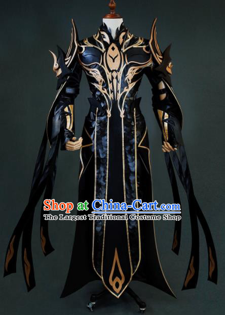 Chinese Ancient Drama Cosplay Taoist General Black Armor Clothing Traditional Hanfu Swordsman Costume for Men