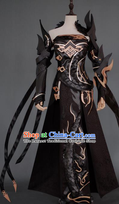 Chinese Ancient Cosplay Heroine Armor Female Knight Black Dress Traditional Hanfu Swordsman Costume for Women